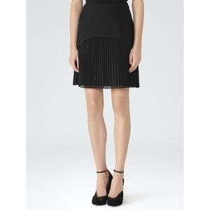 REISS Black Pleated a-line mini Skirt Size 0